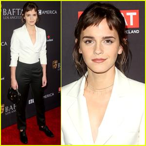 Emma Watson Debuts New Bangs at BAFTA Tea Party