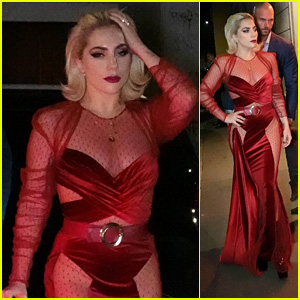 Lady Gaga Brings the Glamour in a Red Gown While Dining in Italy!