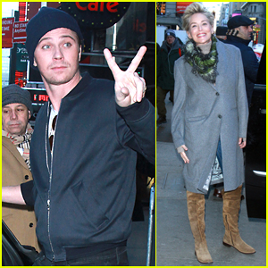 Garrett Hedlund & Sharon Stone Continue Promoting 'Mosaic' in NYC