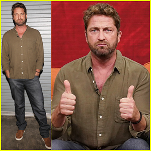 Gerard Butler Promotes 'Den of Thieves' on 'Despierta America'!