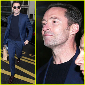Hugh Jackman Looks Dashing in Blue Suit While Out in Paris