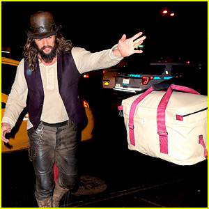 Jason Momoa Tosses His Bag to Hotel Bellhop Upon Arrival