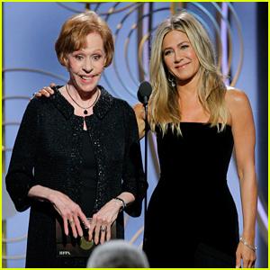 Jennifer Aniston Gets Roasted by Carol Burnett On Stage at Golden Globes 2018!