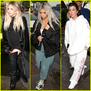 Pregnant Khloe Kardashian Wears Form-Fitting Dress for Lunch with Kim & Kourtney!