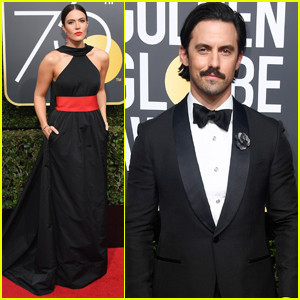 'This Is Us' Stars Mandy Moore & Milo Ventimiglia Step Out at Golden Globes 2018