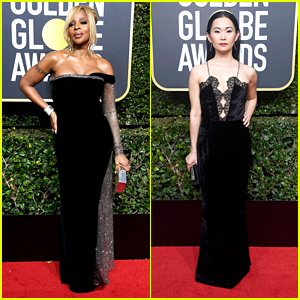Best Supporting Actress Nominees Mary J. Blige & Hong Chau Hit the Red Carpet at Golden Globes 2018!