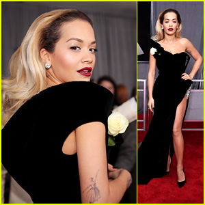 Rita Ora Looks Glamorous on the Red Carpet at Grammys 2018
