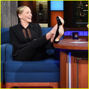 Sharon Stone Talks Fliping 'Man-Heavy' Scripts With Stephen Colbert!