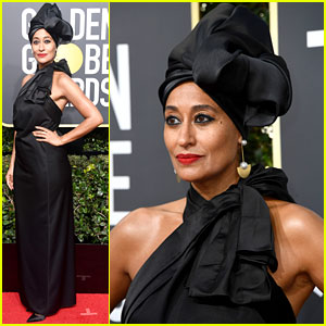 Tracee Ellis Ross Looks Glam in Black Turban at Golden Globes 2018