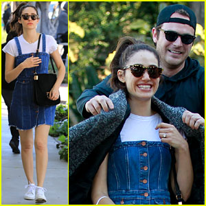 Emmy Rossum Rocks Denim Dress With White T-Shirt for Shopping Trip