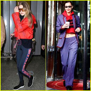 Gigi & Bella Hadid Jet Out of Milan Together During Fashion Week