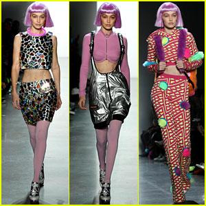 Gigi Hadid Rocks a Pink Wig at Jeremy Scott's NYFW Show
