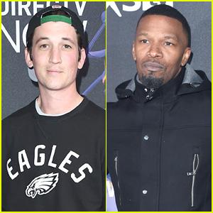 Miles Teller & Jamie Foxx Mingle at DirecTV's Super Bowl Party!