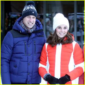 Pregnant Kate Middleton & Prince William Bundle Up While Visiting Ski Slopes in Norway!