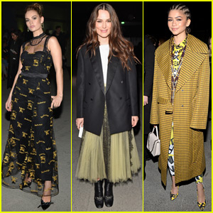 Lily James, Keira Knightley, & Zendaya Go Glam for Burberry Fashion Show