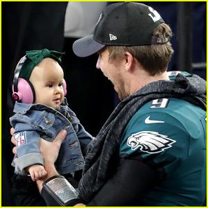 Nick Foles' Wife & Daughter Help Celebrate Super Bowl Win!
