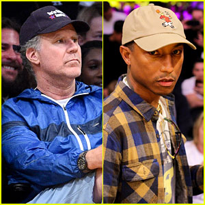 Will Ferrell & Pharrell Williams Cheer on the Lakers at Basketball Game