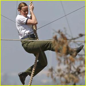 Brie Larson Climbs a Rope for 'Captain Marvel' Stunt Scene!