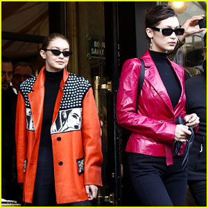 Gigi & Bella Hadid Coordinate Their Bold Looks During Paris Fashion Week