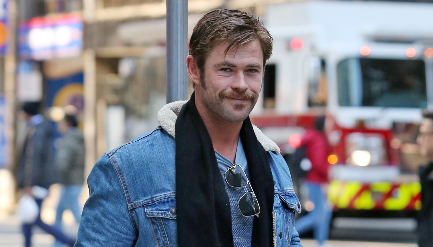 chris hemsworth is rocking a mustache in vancouver chris hemsworth just jared. Black Bedroom Furniture Sets. Home Design Ideas