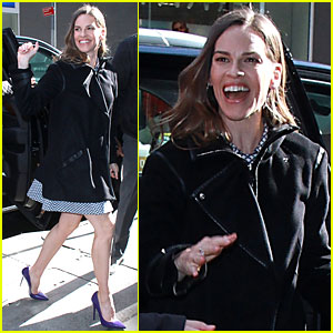 Hilary Swank Stuns in Purple Stilettos While Promoting 'Trust' on 'GMA'