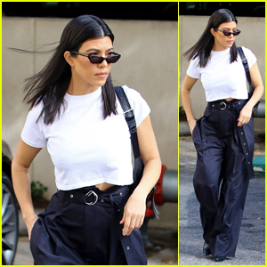 Kourtney Kardashian Looks Stylish in Baggy Pants While Dropping the Kids at Art Class