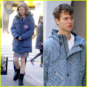 Nicole Kidman & Ansel Elgort abrigarse durante el Rodaje de 'El Jilguero' en nueva york!