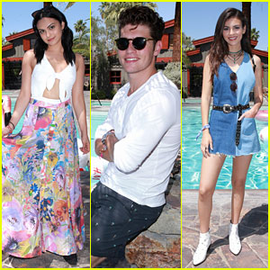 Camila Mendes, Gregg Sulkin, & Victoria Justice Hang Out Poolside Before Coachella