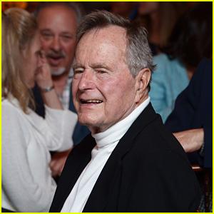 former president george h w bush hospitalized one month