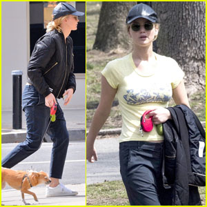 Jennifer Lawrence Takes Her Pup Pippi For a Walk in NYC!
