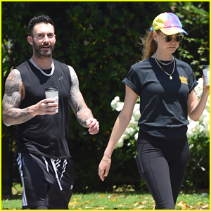 Adam Levine Shows Off Buff Biceps During Walk with Behati Prinsloo!