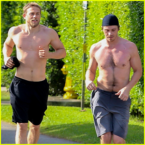 Charlie Hunnam & Garrett Hedlund Go Shirtless for Their Run!