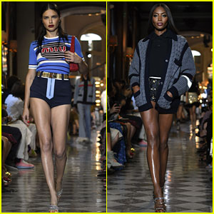 06632bcf93e Adriana Lima and Naomi Campbell strut their stuff on the runway at the Miu  Miu 2019 Cruise Collection Show held on Saturday (June 30) at Hotel Regina  in ...