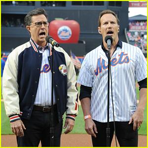 Stephen Colbert & Patrick Wilson Sing National Anthem at Mets Game!