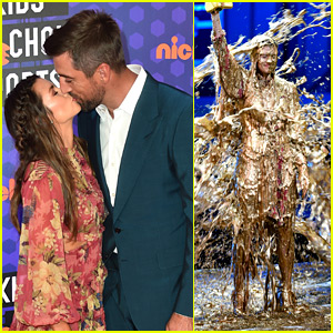 Aaron Rodgers & Danica Patrick Kiss at Kids' Choice Sports Awards Before She Gets Slimed!
