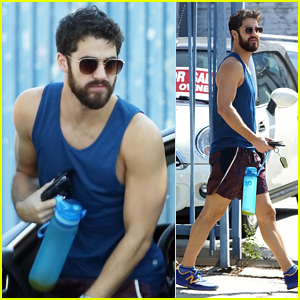 Darren Criss Shows Off His Biceps While Heading to the Gym!
