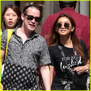 Macaulay Culkin & Brenda Song Hold Hands While Hanging Out in Paris