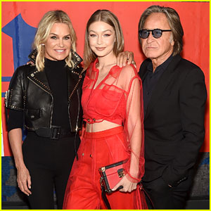 404383ee96cb7 Gigi Hadid Poses With Her Parents Yolanda   Mohamed at TommyXLewis Launch  Party!
