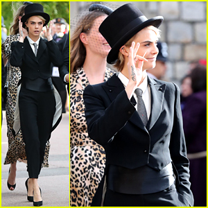 Cara Delevingne Wears a Top Hat & Tuxedo to Royal Wedding