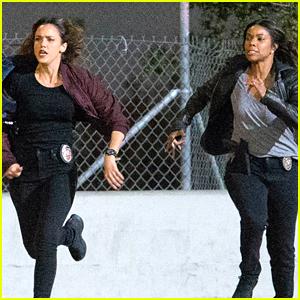 Jessica Alba & Gabrielle Union Leap Into Action on 'L.A.'s Finest' Set!