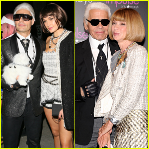 Ryan Seacrest & Girlfriend Shayna Taylor Dress as Karl Lagerfeld & Anna Wintour for Halloween Party!