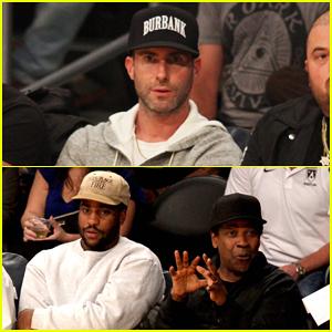 Adam Levine & Denzel Washington Cheer On Lakers at Toronto Raptors Game in LA!