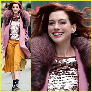 Anne Hathaway Debuts New Red Hair on Movie Set!