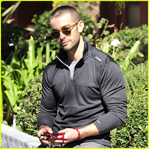Chace Crawford Takes His Dog Shiner for a Walk
