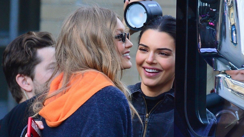 def5baa0c Gigi Hadid & Kendall Jenner Share a Hug Outside of Victoria's Secret ...