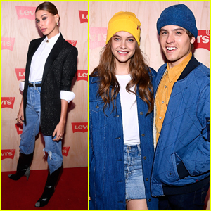 Hailey Baldwin Joins Barbara Palvin & Dylan Sprouse at Levi's Store Opening in Times Square!