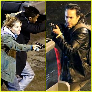 Sienna Miller, Chadwick Boseman, & Taylor Kitsch Film Intense Fight Scene on '17 Bridges' Set!