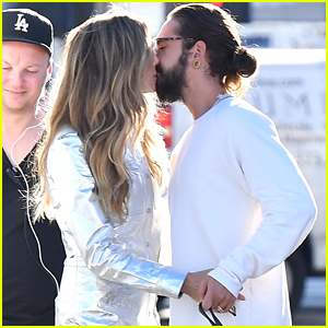 Heidi Klum & Boyfriend Tom Kaulitz Share a Kiss on the Set of 'Germany's Next Top Model'