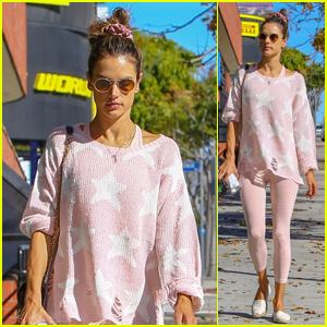 Alessandra Ambrosio Is Pretty in Baby Pink for Pilates Class!