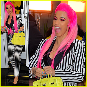 Cardi B Sports Pink Hair With Striped Suit for 'Rhythm & Flow' Filming